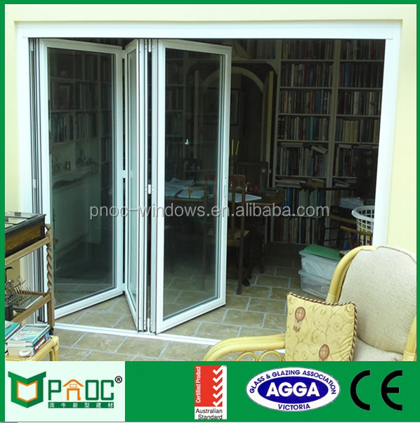 Arched Exterior Door With Glass, Used Commercial Glass Aluminium Folding Door For Modern House PNOC0034BFD