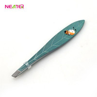 Professional Beauty Makeup Stainless Steel Slant Tip Edge Eyebrow Tweezer