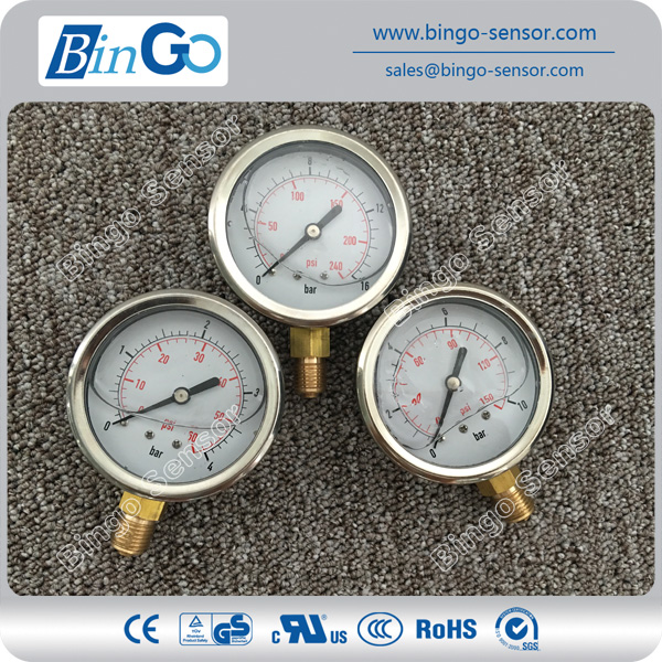 Dial 4 inch/100mm with oil filled pressure gauge/ manometer