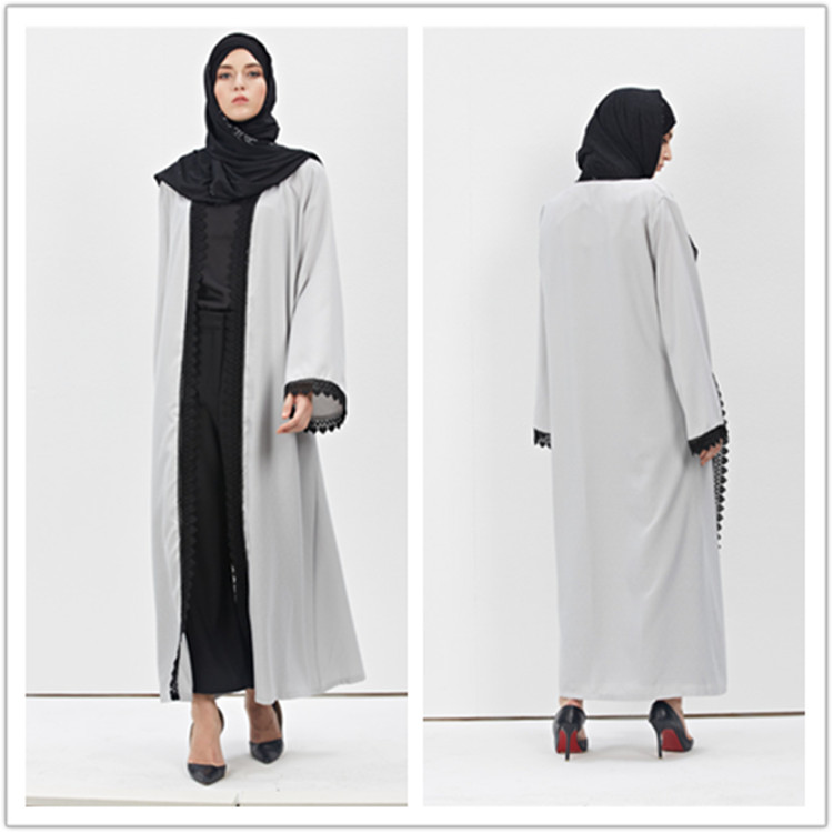 2016 new gray long abaya dress Islaa muslim dress tudung malaya islamic dress jilbab for women dubai open front abay
