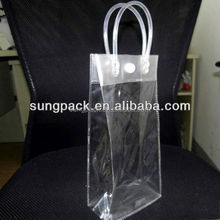 Clear PVC Handbag With Round Tube Handle Beauty Makeup Cosmetic Bag with Snap Button