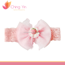 2016 New Pink Baby Girl Infant Knitted Hairband Mesh Flower Headband For European Baby Girl