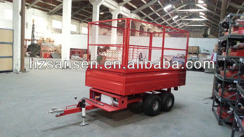 4- Wheel Agriculture tractor tipper trailer with wire mesh ;tractor hydraulic dump trailer;cargo trailer