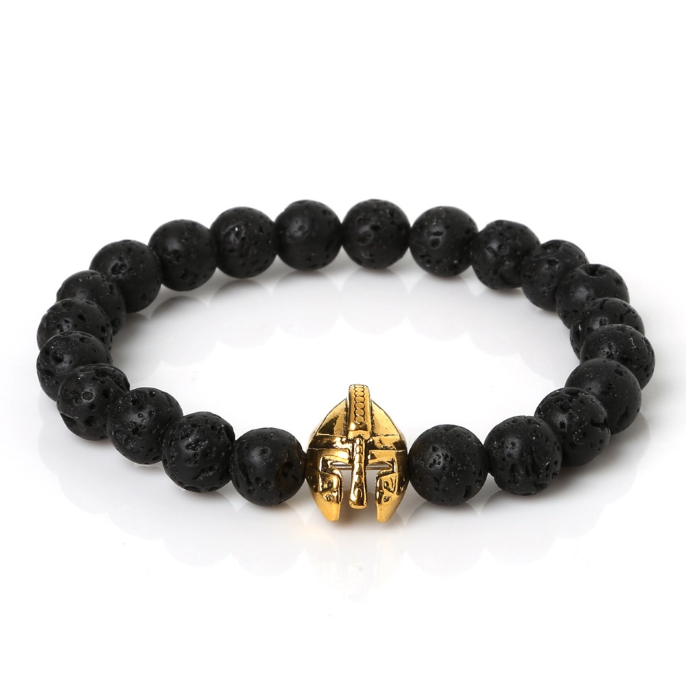 2016 Gold Plated Roman Knight Spartan Warrior Gladiator Helmet Bracelet Men Black Lava Stone Bead Bracelets For Men Jewelry