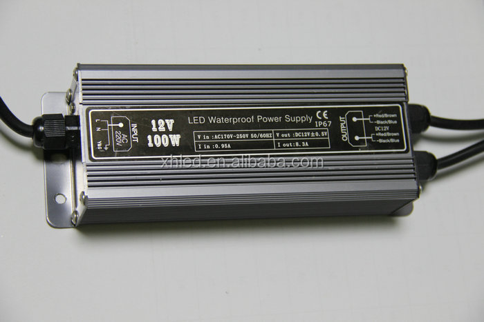 CE Rohs Certificated IP67 Waterproof 12V 100W Constant Current LED Driver
