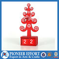 Tree shape red chistmas table decoration with calendar block