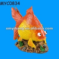 Aquarium decorations resin red flower horn fish