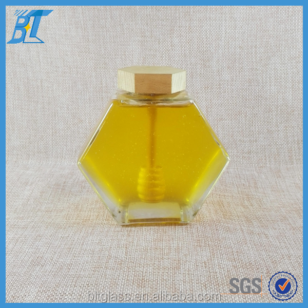375ml 380ml unique hexagonal shape bee shaped glass jar for honey