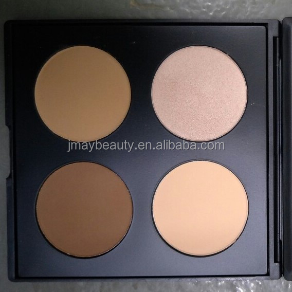 4 color highlight palette contour makeup Pro pressed powder foundation New black paper packge Cosmetic Pans Latest Products