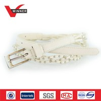 White women PU braided belts with rivets