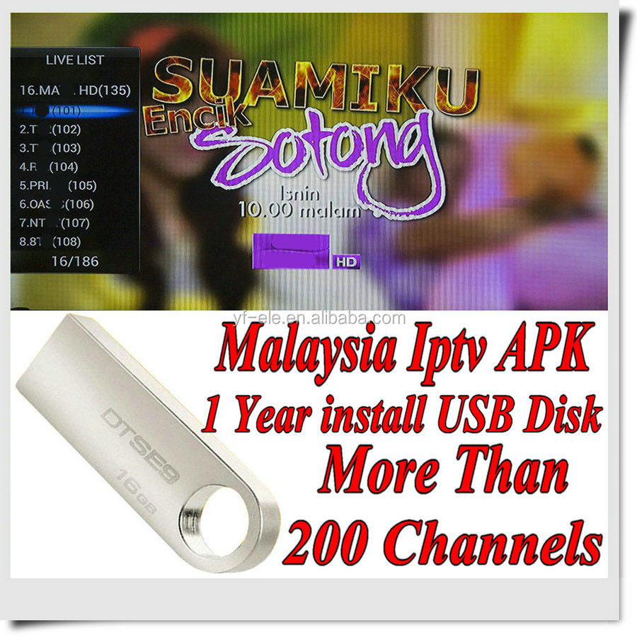 Free Shipping 128M USB Malaysia box apk Malaysia Sports channels with 1/3/6/12 months validity for internet HDTV MyIptv
