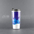 Plastic coffee cup with custom insert paper, double wall cup with lid