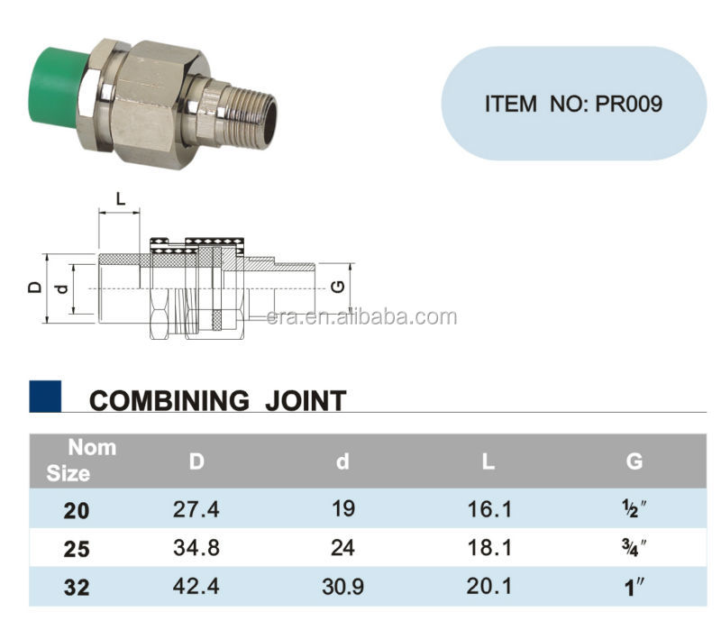 ERA PPR Pipe Pressure Fittings Combining Joint