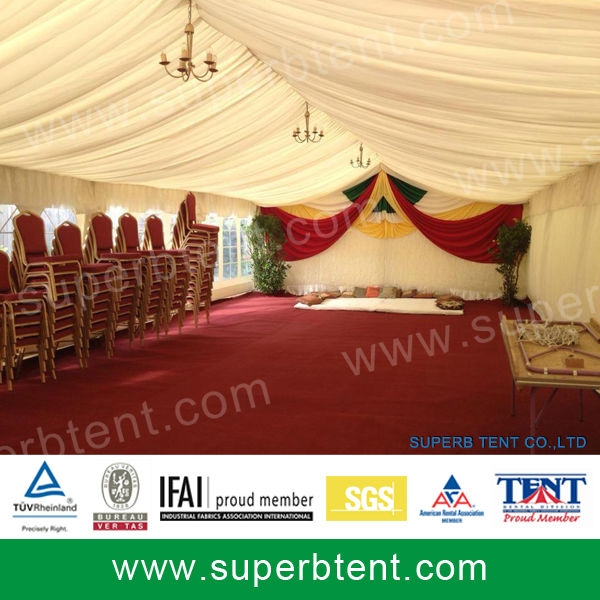 sell big marquee tent with roof lining and curtain decorations for wedding