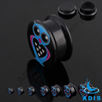 Animal Logo Internally Threaded Black Acrylic Ear Plugs