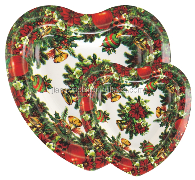 Heart shape christmas tree printing plastic charger plates for events party