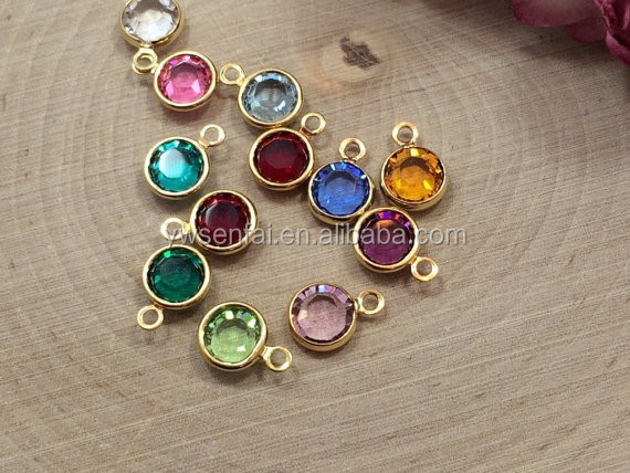Fashion jewelry cheapest best selling gold plated glass crystal 8mm colourful birthstone charms wholesale on alibaba