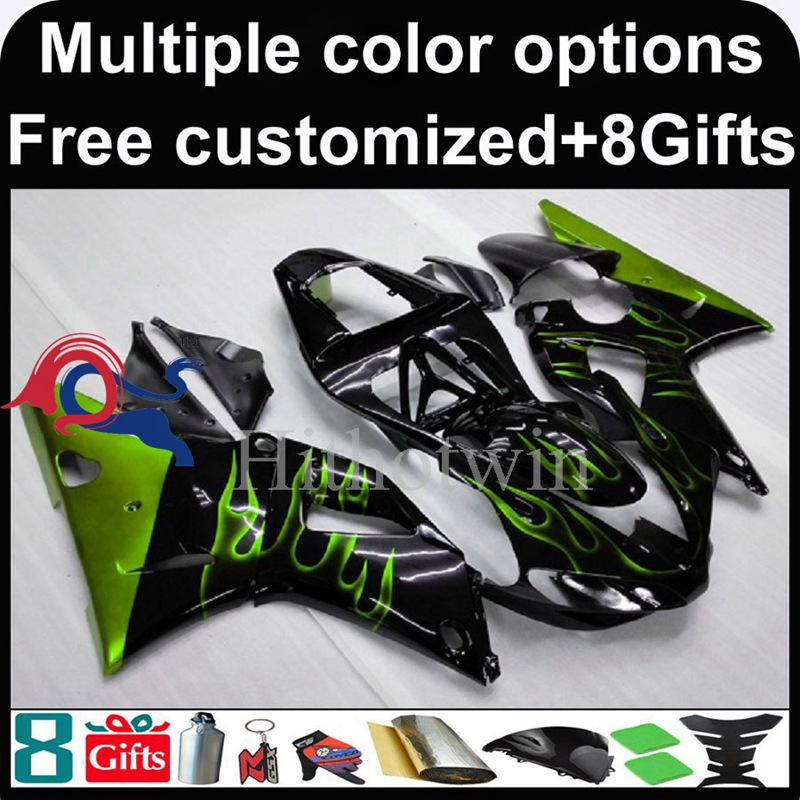green flames black motorcycle cowl for Yamaha YZFR1 2000-2001 00 <strong>01</strong> YZF <strong>R1</strong> 2000 2001 00-<strong>01</strong> ABS Plastic Fairing