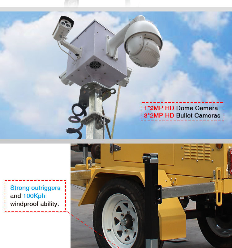 High Quality wireless cctv trailer