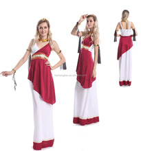 Greek God or Goddess Costume Great Toga Fancy Dress + Headpiece Red White Adult