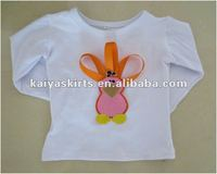 white long sleeve 100% cotton thanks giving day T-shirt for girls