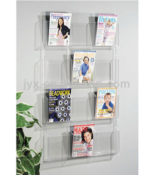 Custom Wall Hanging Acrylic Magazine Rack Display Shelf