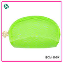 Fluorescent green mesh pvc cosmetic case