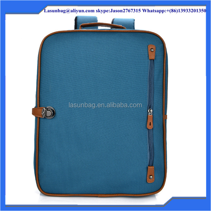 2015 New Arrival Light Blue Canvas Backpack School Book Laptop Bags