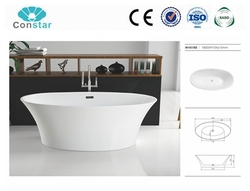 Round shape pure acrylic material white color standard water soaking classic bathtub for family use