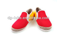 customized new red&yellow canvas rubber shoes causal shoes