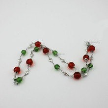 Wholesale Females Casual Handmade Bead Necklace with Stainless Steel Heart Chain Colorful Stones Jewelry