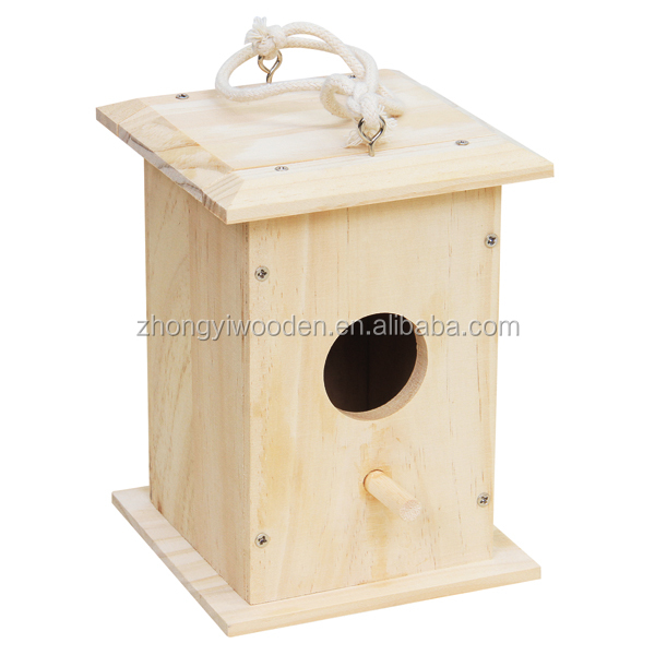 Outdoor hanging customized cheap factory supply wooden small cute bird house