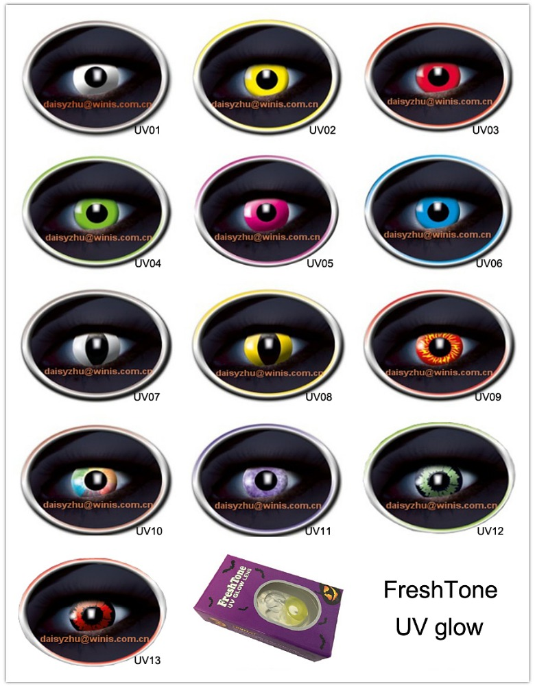 FreshTone UV glow in the dark cosplay party wholesale korea halloween crazy color contact lenses