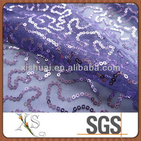 New design poly mesh allover geometric pattern sequins embroidery fabric