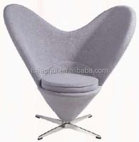 European Heart Chair Fabric Stainless Steel Base Heart Shaped Chairs Replica designed by Verner