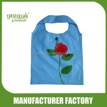 Wholesale Supply Stock Cheap Cute Flower Rose Shape Foldable Shopping Bag/Custom Reusable Folding Shopping Bags Factory