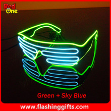 Stylish Hot Sale El Wire Neon LED Light Up Shutter Shaped Glasses For Christmas Haloween Party
