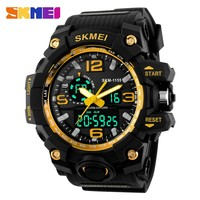 new skmei 1155 brand dual time watch army big head led analog clock men wrist outdoor sports 50m waterproof diver cool watches