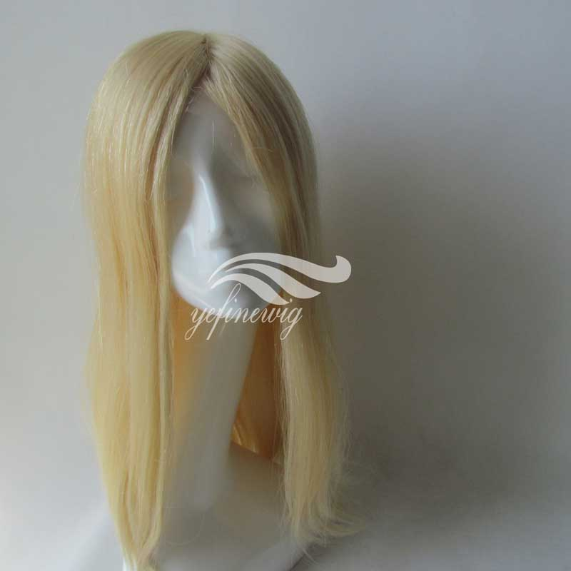 Blonde Human Hair Toupee For Women