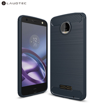 Laudtec Carbon Fiber Silicone Tpu Back Cover Case For Motorola <strong>Z</strong> Force