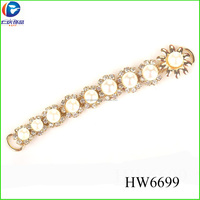 Wholesale pearl crystal ladies high heels shoe decoration for women HW6699