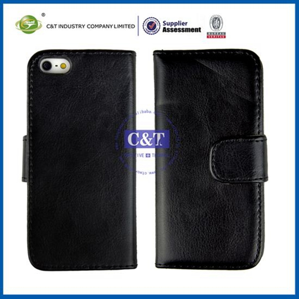 C&T New style back cover crown smart pouch wallet case for iphone 5 5g 5th