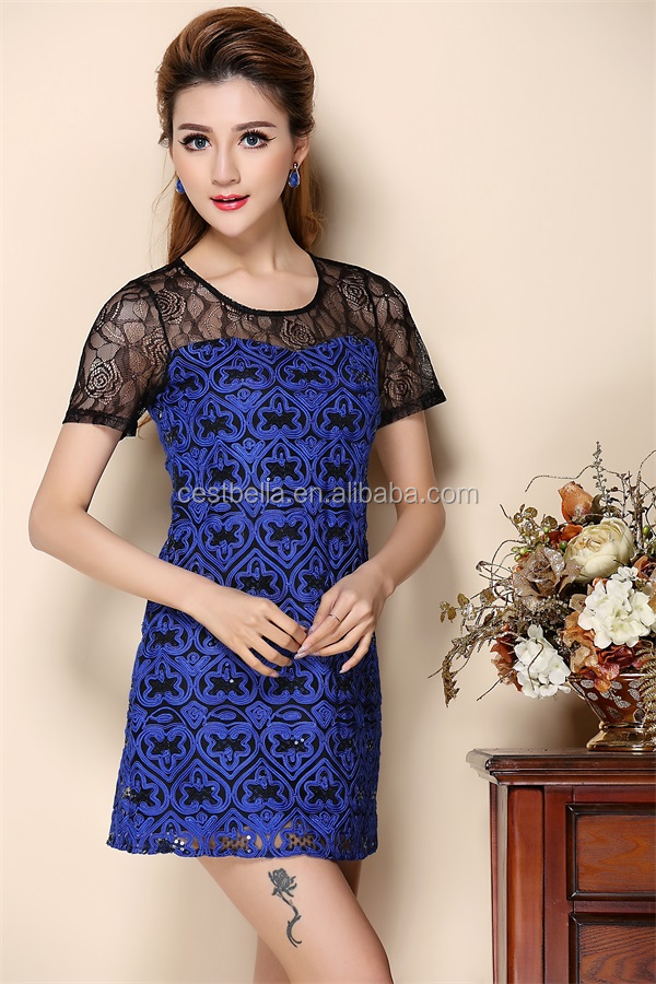 Custom Summer Ladies Clothes Short Sleeve Embroidered O Neck Party Dress for Women