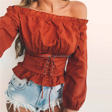ZH1322E Latest Lady Sexy Off Shoulder Waist Drawstring Tops Plain Frill Trim Blouse
