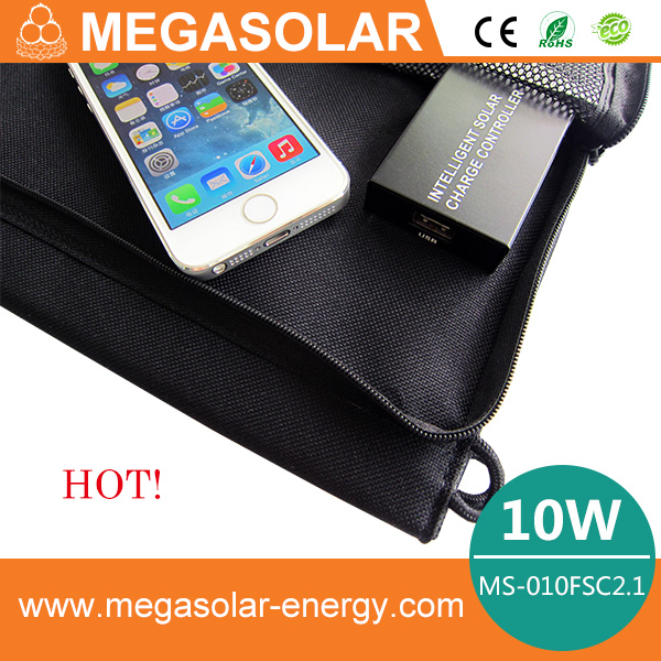 Hot! 2014 Intelligent, 10w Folding Solar phone tablet charger