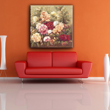 Modern china produced bright flower easy oil canvas art painting pictures