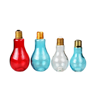 Popular shinying light bulb shaped glass jar with LED light and screw top lid