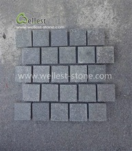 Flamed Black Basalt Cobblestone Paver on Mesh, Paving Mat, Granite Sheets