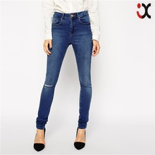 2015 wholesale women ripped knee high rise natural fading skinny ladies latest fashion jeans JXZ058