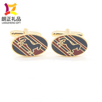 custom hard enamel metal gold plated cufflinks for men suit